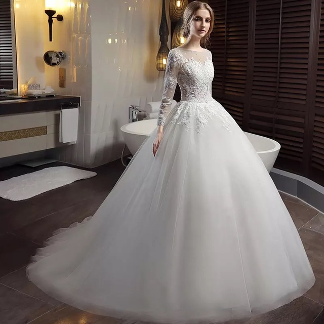 satin wedding dresses with sleeves photo - 1