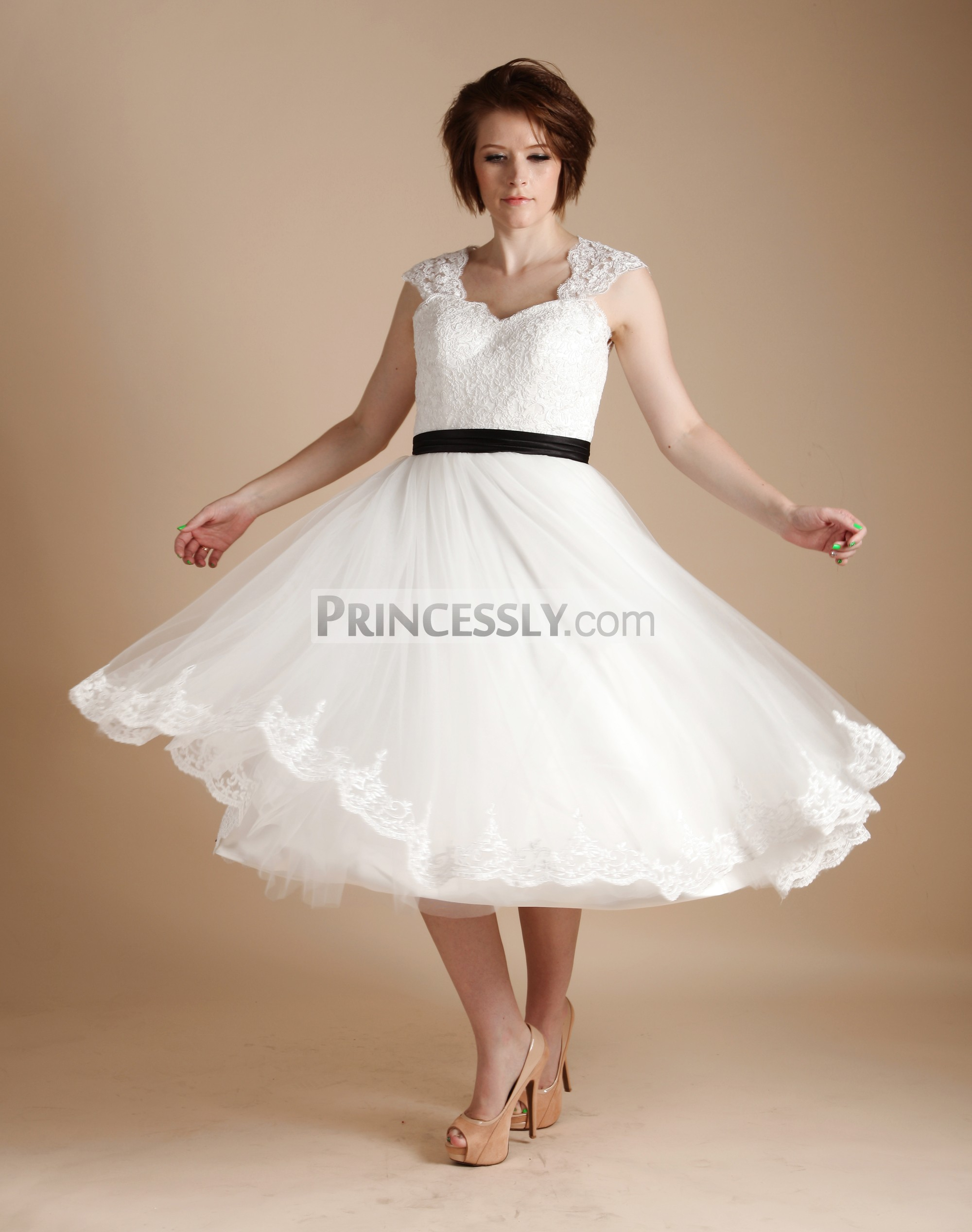 short tea length wedding dresses photo - 1