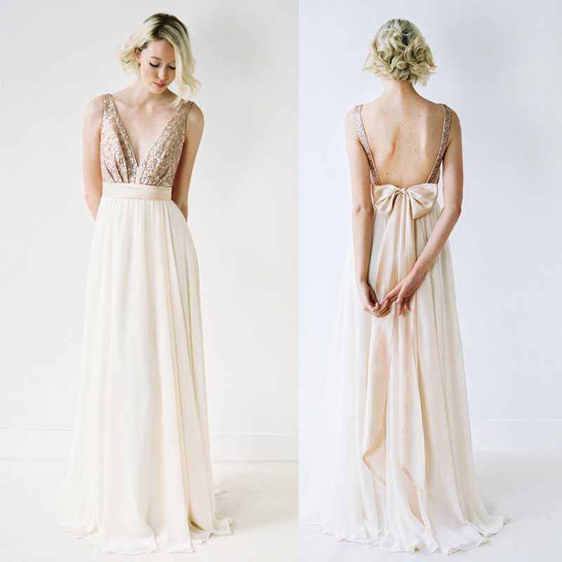 silver sequin wedding dresses photo - 1