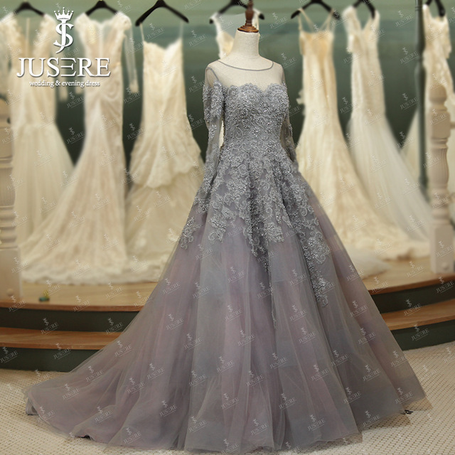 silver wedding dresses with sleeves photo - 1