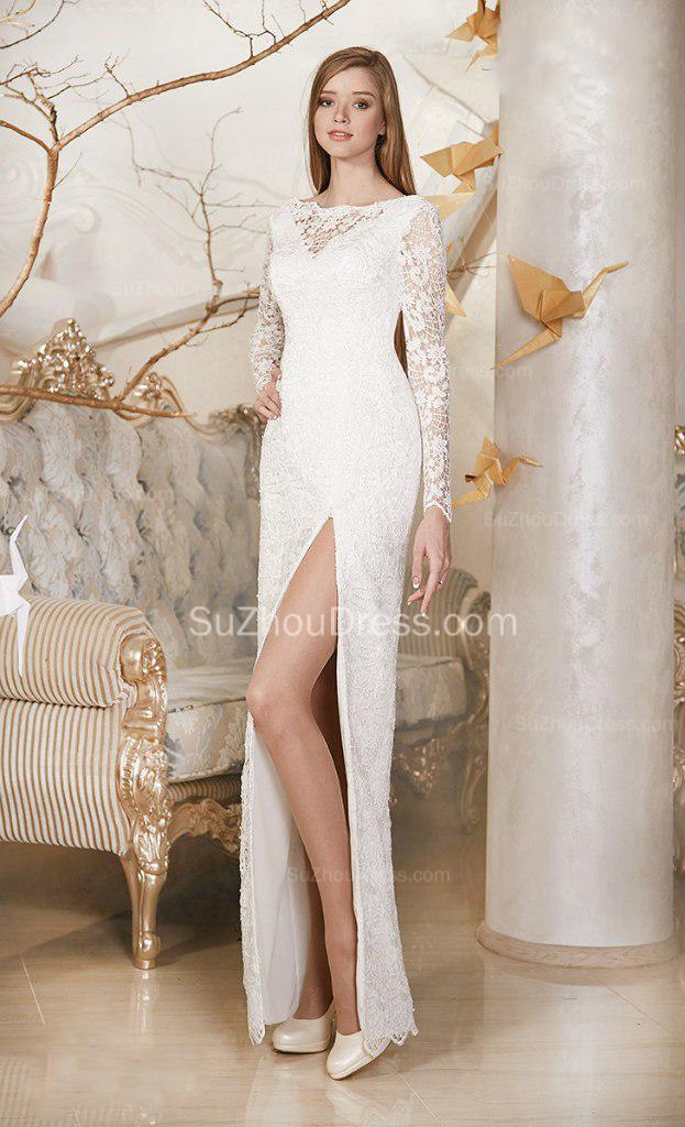 simple wedding dresses long sleeve photo - 1