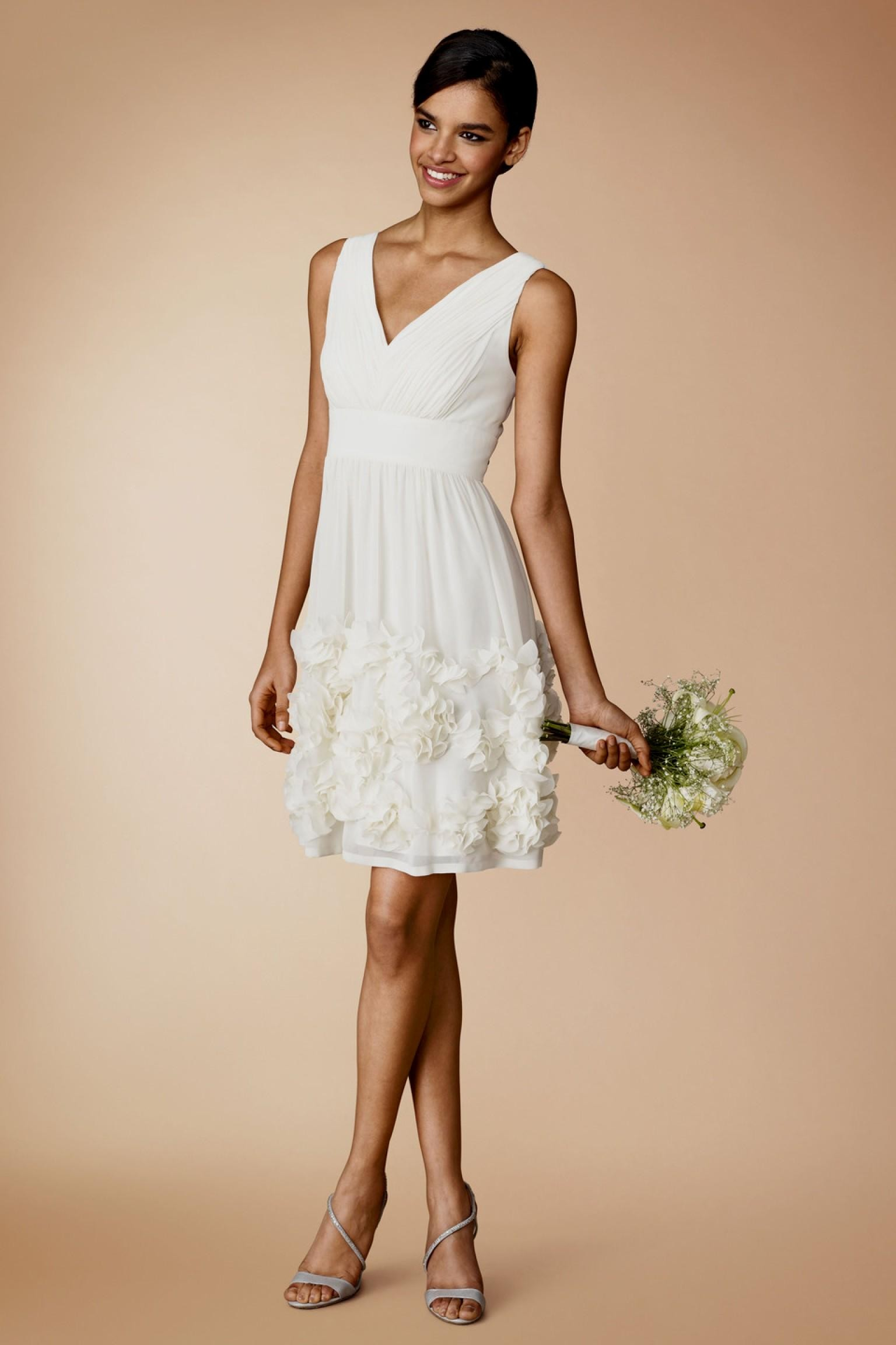 simple white dresses for courthouse wedding photo - 1