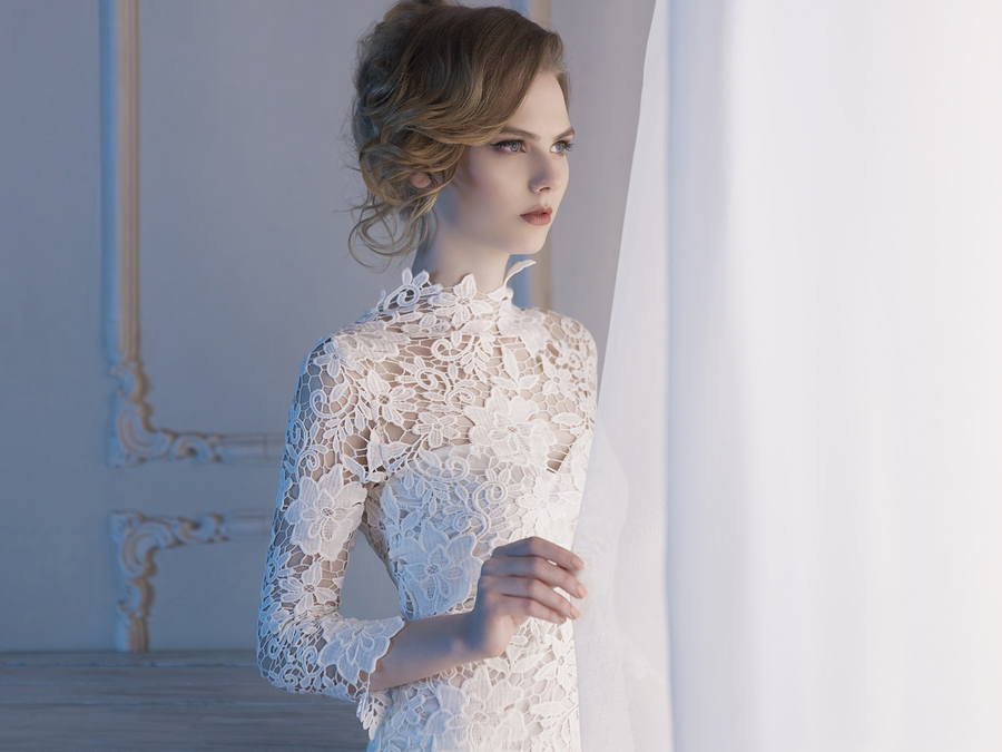 turtleneck wedding dresses photo - 1