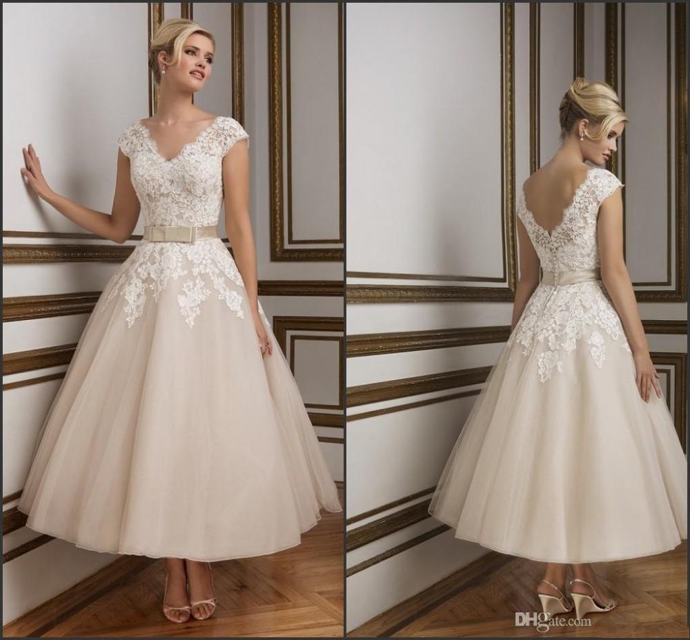 vintage lace tea length wedding dresses photo - 1