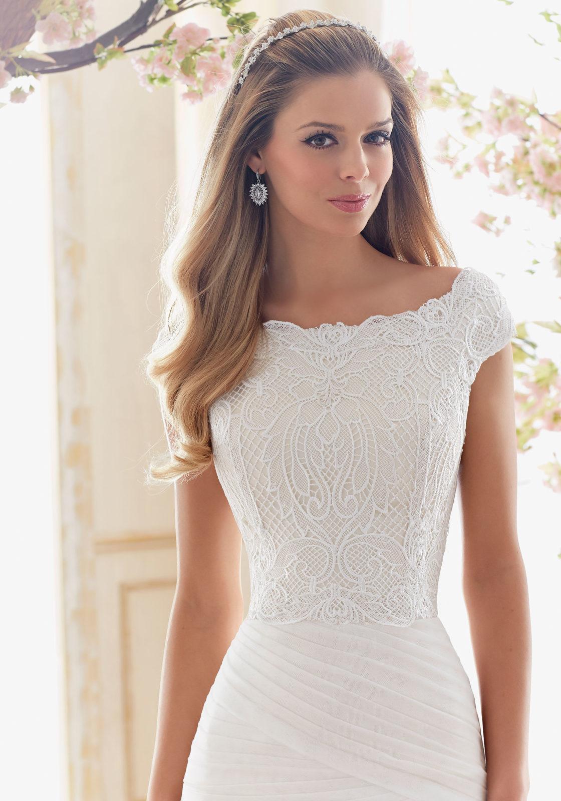 vintage lace top wedding dresses photo - 1