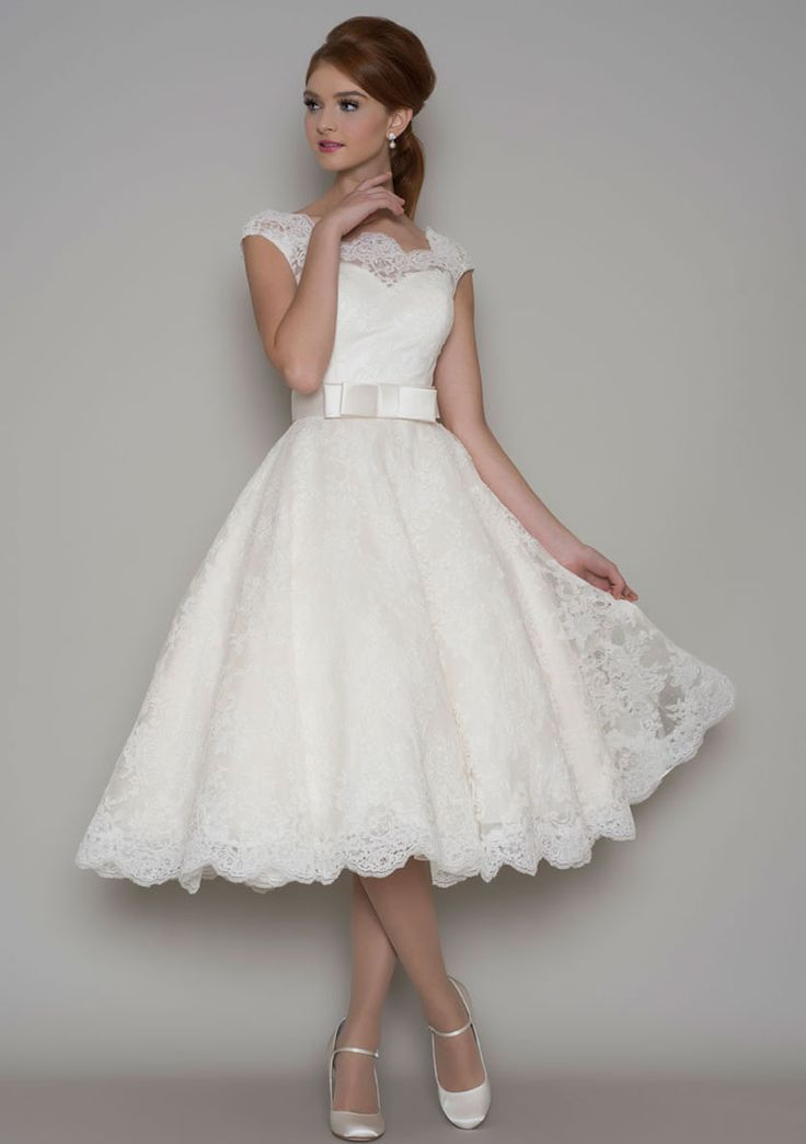 vintage style tea length wedding dresses photo - 1