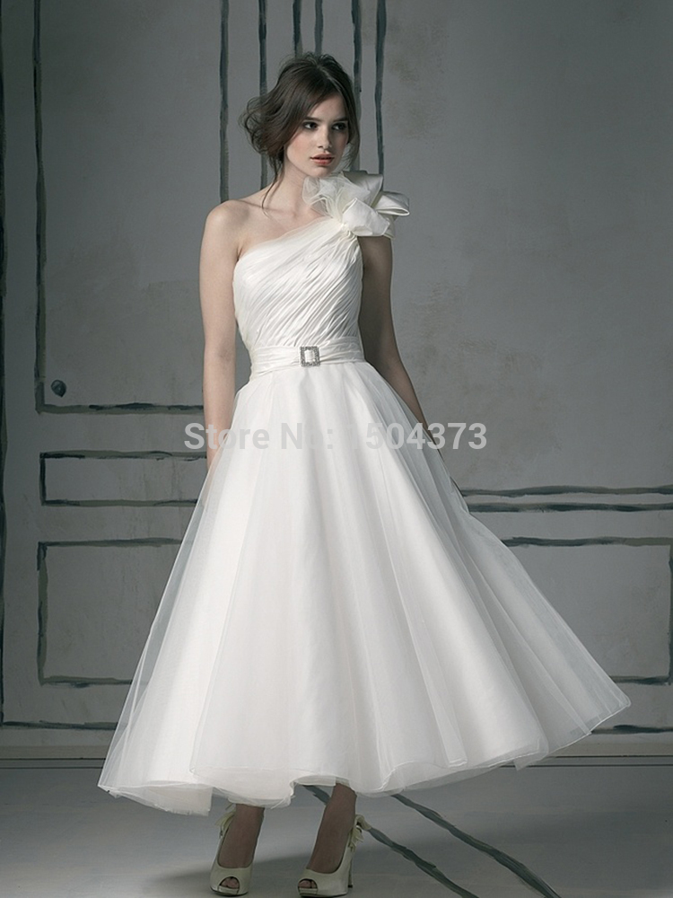 vintage tea length wedding dresses photo - 1