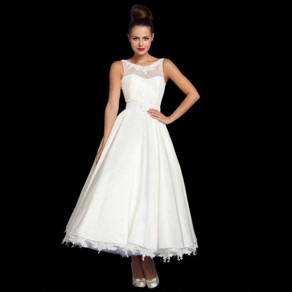 vintage wedding dresses tea length photo - 1