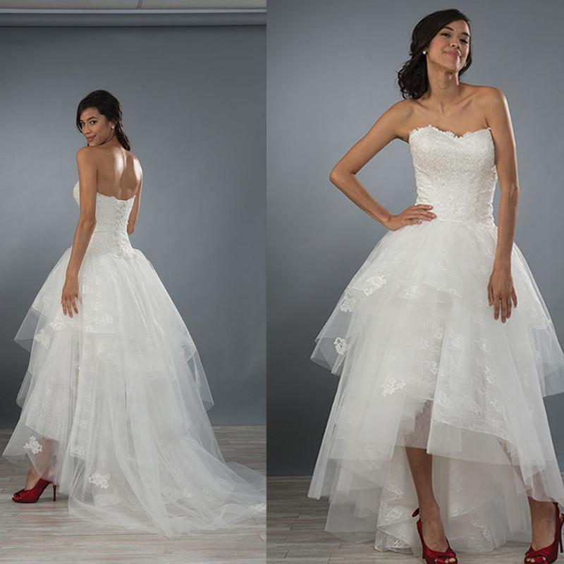 wedding dresses hi low hemline photo - 1