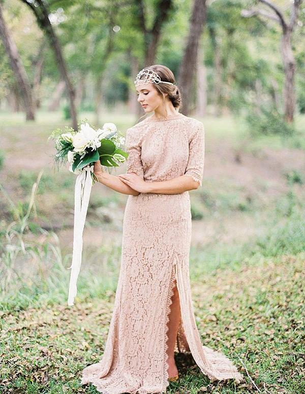 wedding dresses off the shoulder sleeves photo - 1