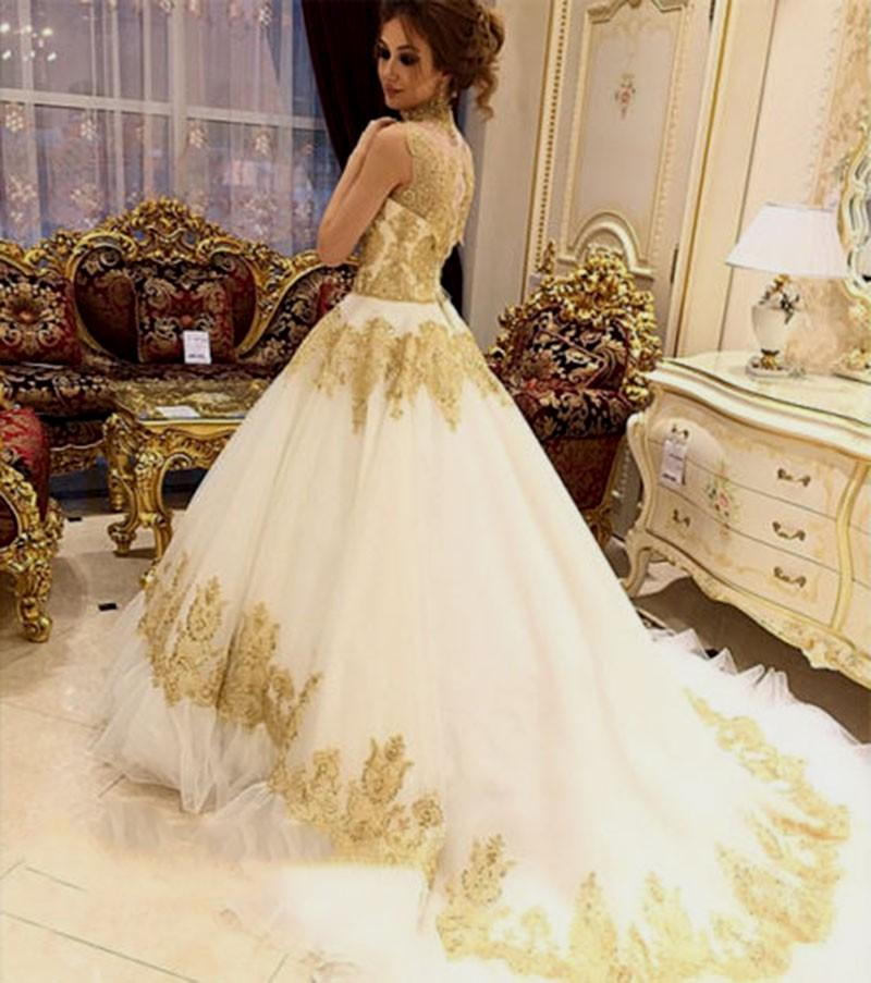 wedding dresses white and gold photo - 1