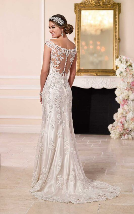 wedding dresses with illusion neckline and sleeves photo - 1