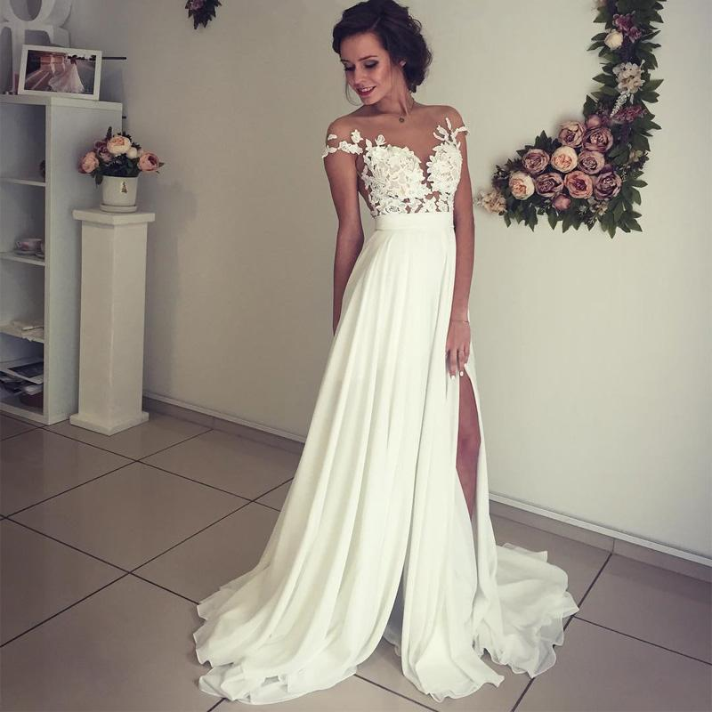 wedding dresses with lace sleeves off the shoulder photo - 1