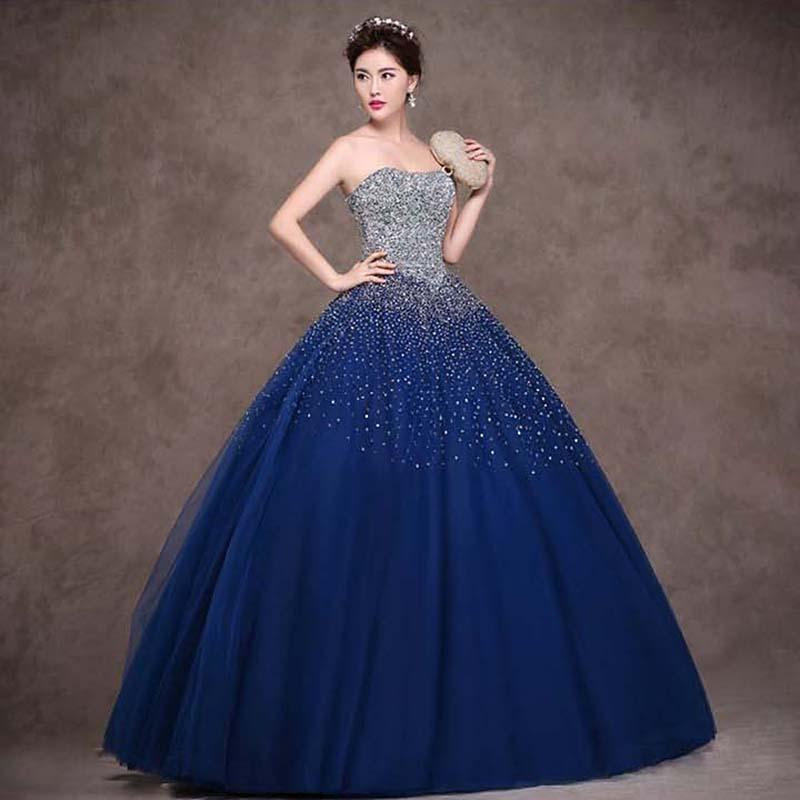 wedding dresses with navy blue photo - 1