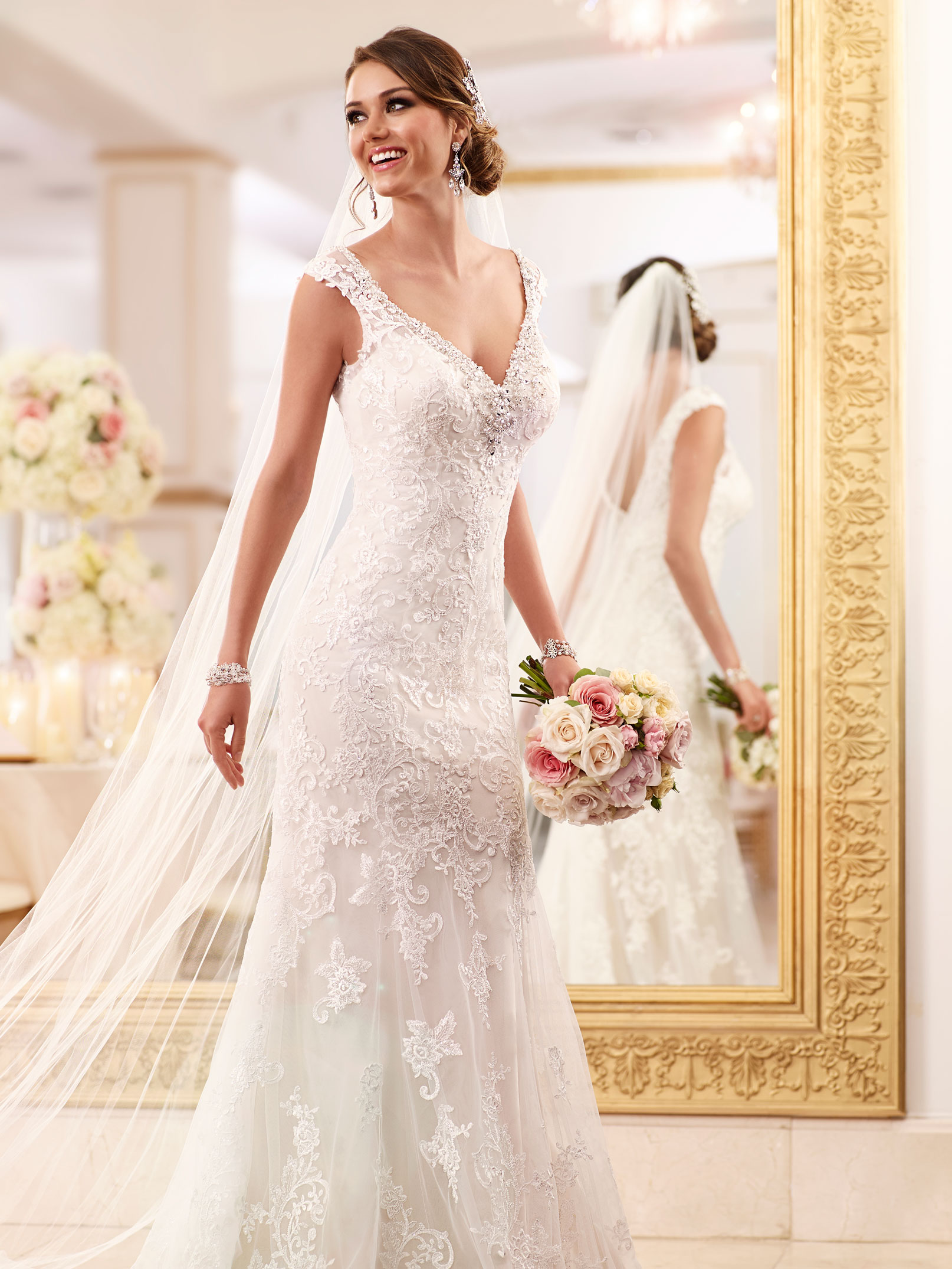 wedding dresses with pink accents photo - 1