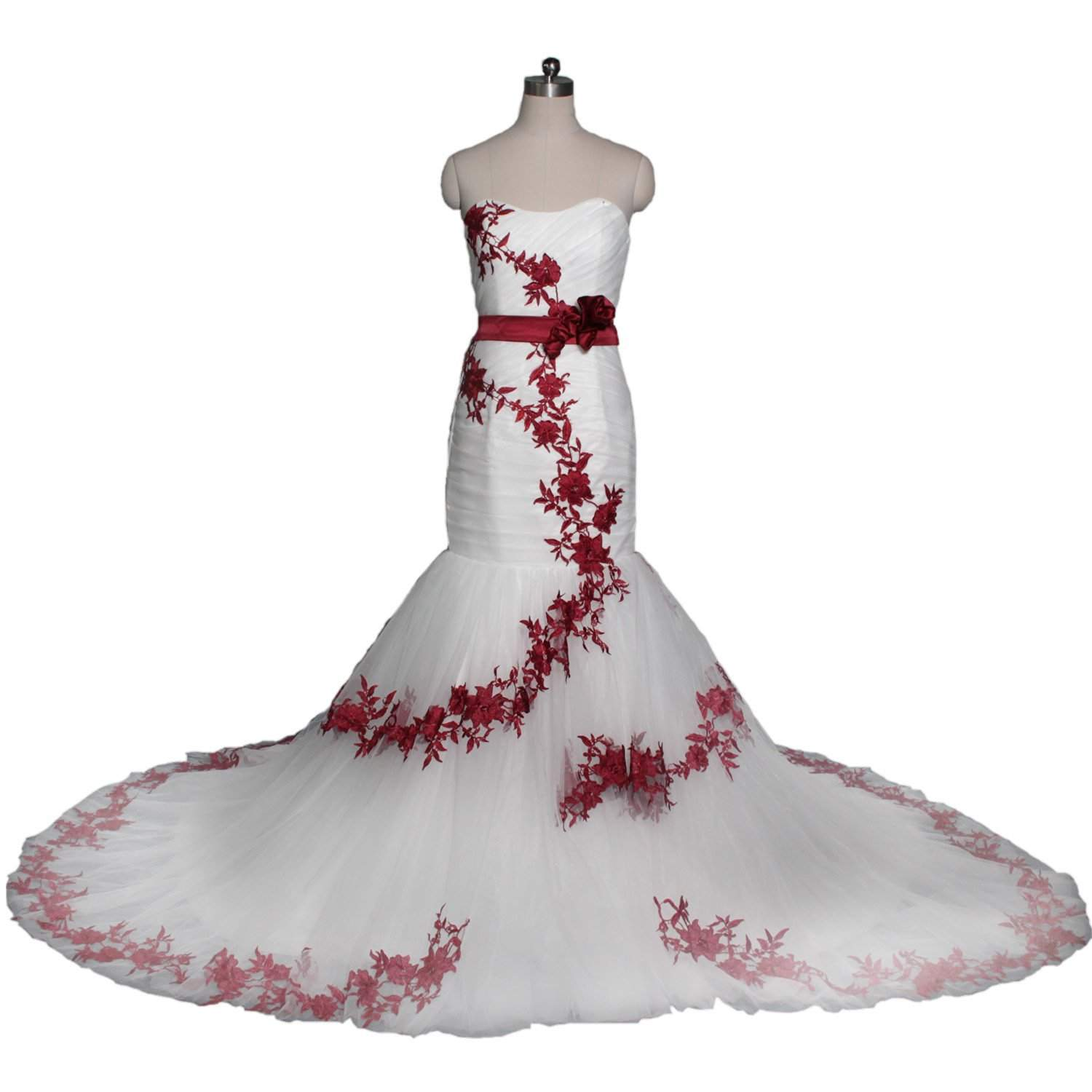 wedding dresses with red trim photo - 1
