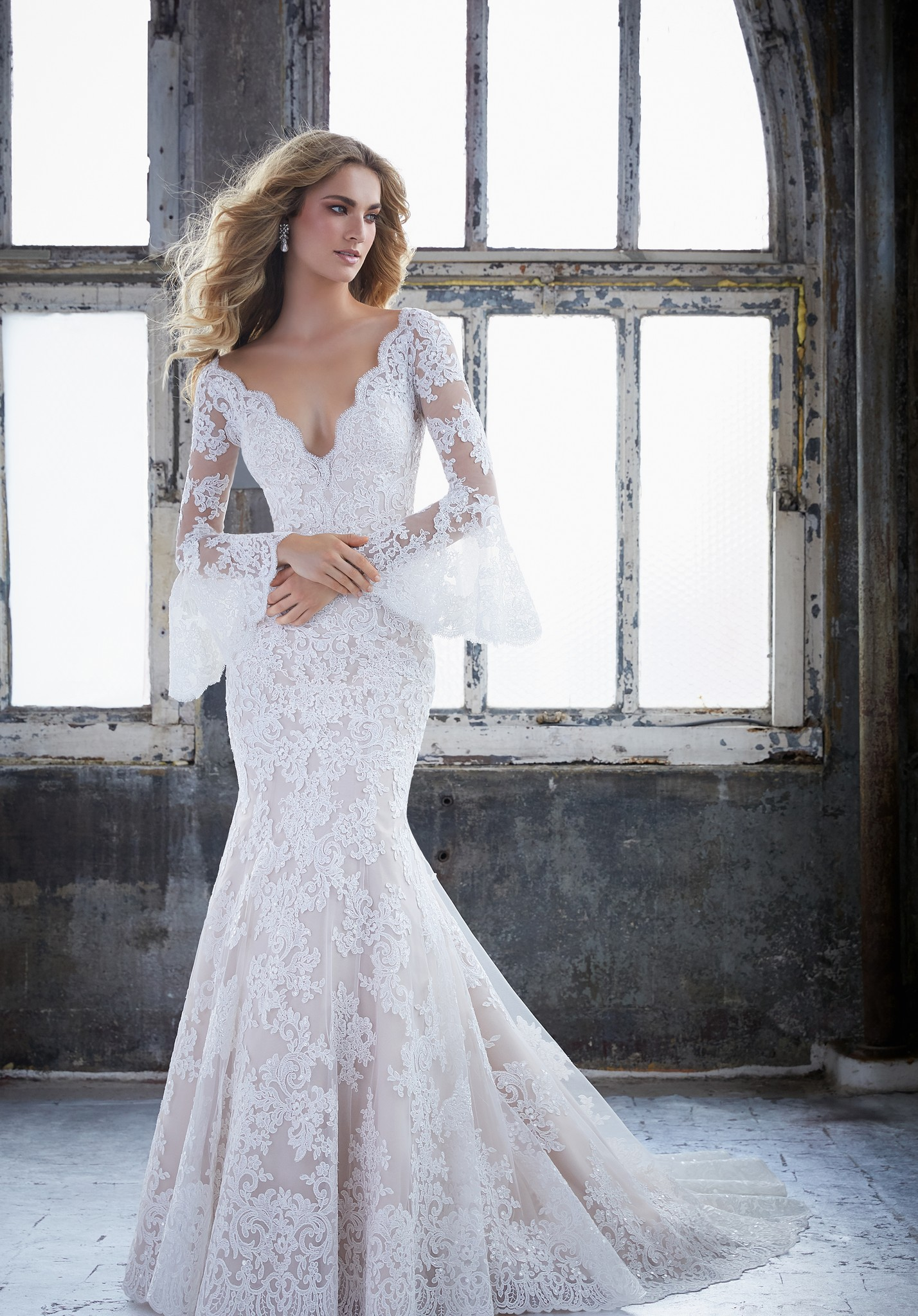 wedding dresses with sleeves plus size photo - 1