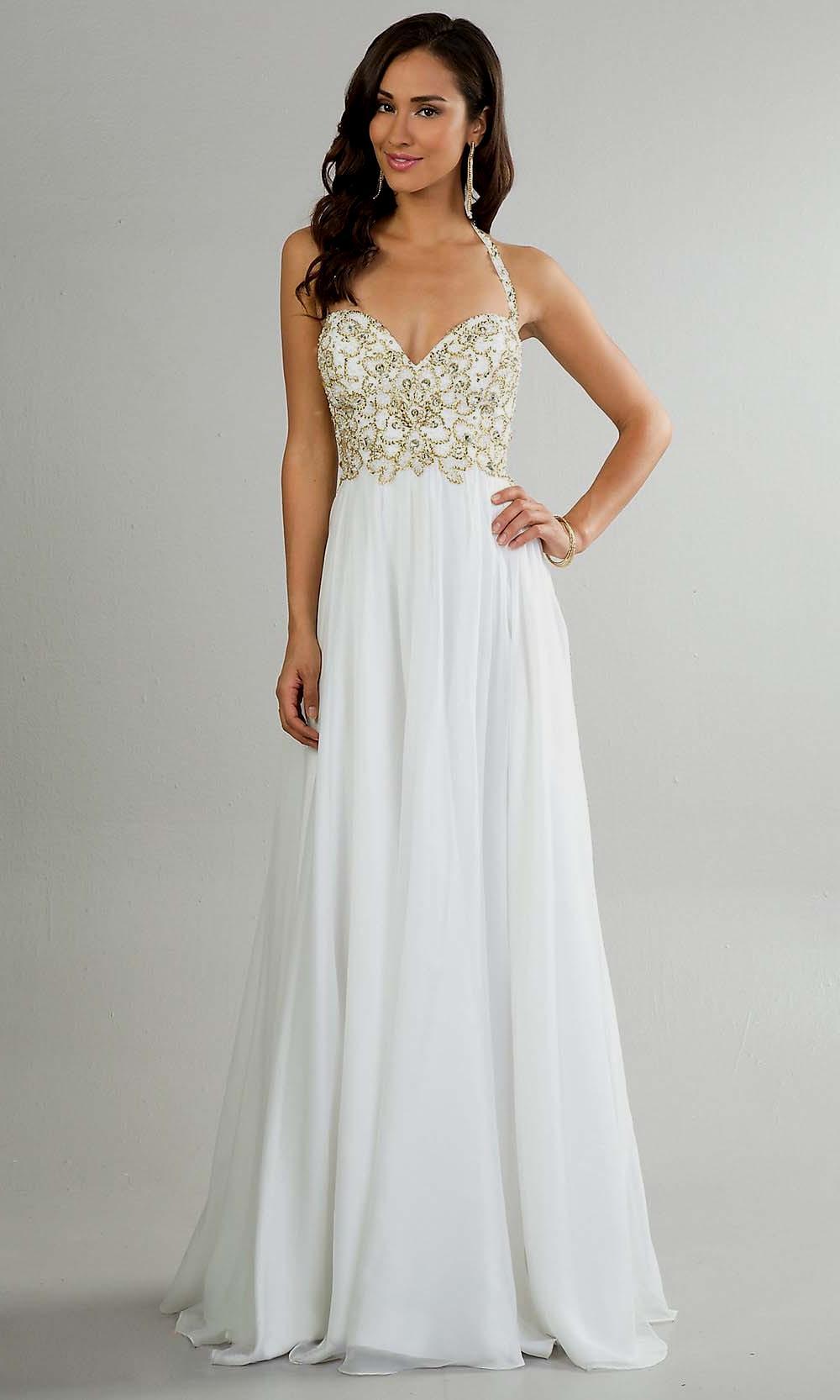 white elegant prom dresses photo - 1