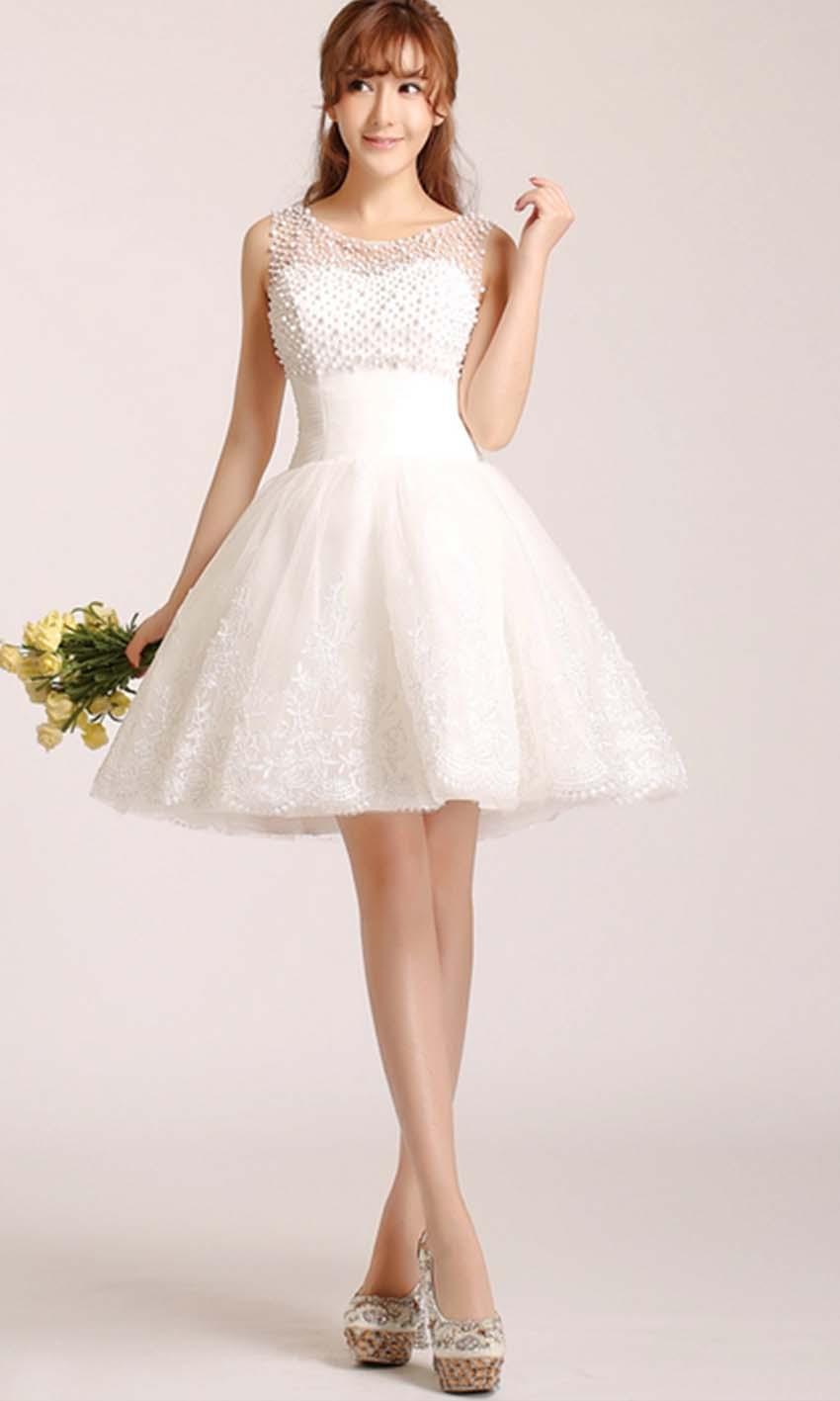 white short wedding dresses cheap photo - 1
